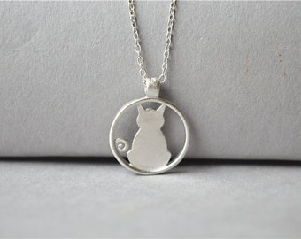Silver cat necklace, 925 sterling silver pendant and chain, thin chain, short necklace, Christmas gift (XL72)