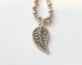 Falling leaf charm necklace