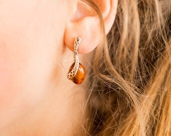 Baltic Amber Earrings, Amber & Silver Earrings, amber drop earrings, dangle earrings, buckle, drop amber earrings, silver, amber jewelry