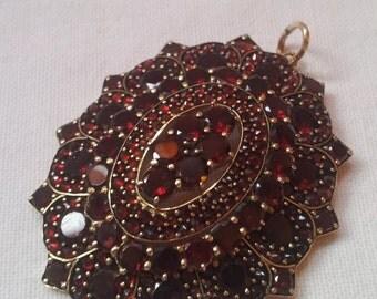 Antique Bohemian Garnet Pendant, Bohemia, Circa 1880