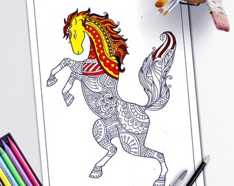 adult coloring book page stress relieving animal designs adult coloring pages animalsprintable horse