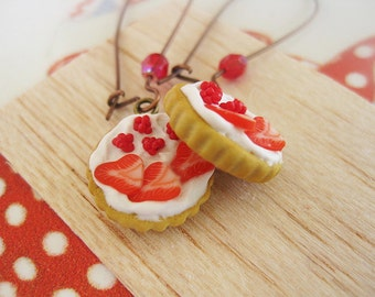 Red Fruit Tart Drop Earrings _ Miniature Food _ Polymer clay _ Foodie Gift _ Tart Collection