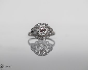 Circa 1910 - Platinum 1.07ct Old European Cut Diamond Engagement Ring in a Cushion of Old Single Cut Diamonds - VEG#6