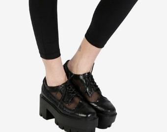 FREE SHIPPING! 90s RAVER Shoes! ~ Black ~ Platform Mesh Oxford
