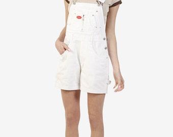 90s Deadstock Denim Overall Shorts! ~ WHITE! Carpenter / zipper front