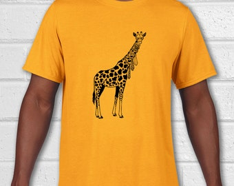 Giraffe shirt, Mens Tshirt, Mens Tees, Giraffe t shirt, Funny animal art, Animal T shirt, Animal Shirt, Funny T-shirt, Giraffe love