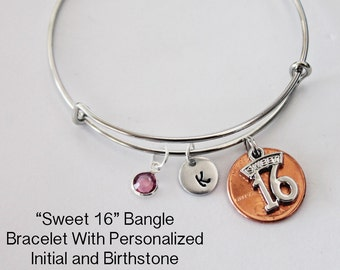 Sweet 16 Bracelet.  Bangle Bracelet. Initial Bracelet. Personalized Gift. 16 Years old. Birthstone. Penny Bracelet.