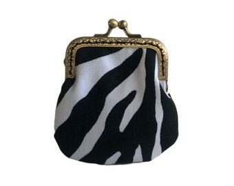 Black and White Zebra Print Canvas Fabric Antique Bronze Frame Coin Purse