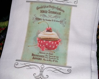 Kitchen Flour Sack/French Country/Shabby Chique/Paris Chocolat Cacao Dragees Creme Cheese/Tea Towel/Housewarming Gift/Guest/Tea Party