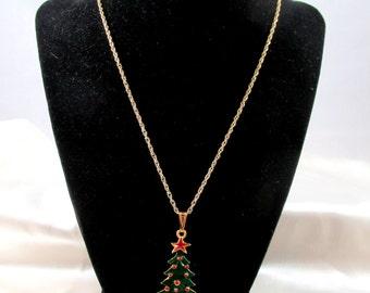 Vintage Enamel Christmas Tree Pendant
