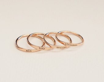 Custom Delicate Name Ring • Custom Stacking Rings • Skinny Custom Ring • Wedding Dates Ring • Bridesmaids Gift • Baby Name Mom Gifts • RM21