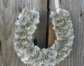 Lucky Horseshoe Paper Flower Wreath - Wedding Decor, Home Decor or Gift