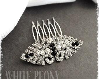"1920s Art Deco Gatsby Inspired Black Crystal Hair Comb-Downton Abbey Wedding Hair Accessories-Bridal Bridesmaids Vintage Comb-""JULIET black"""