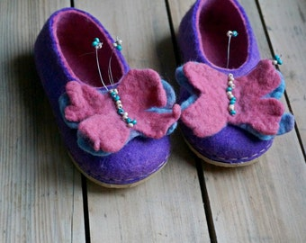 Felted wool slippers, kids slippers, home shoes, wool slippers, with rubber soles - Butterfly for princess