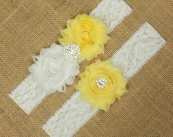 Yellow Wedding Garter, Bridal Garter Set, Wedding Garter Set, Toss Garter, Keepsake Garter, Yellow Wedding Garter, Garter Wedding, SCW1-Y01