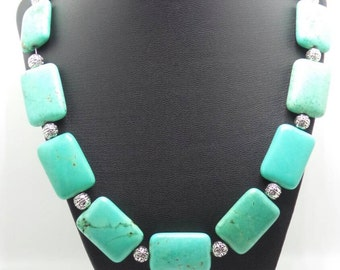 Handmade Native American Turquoise beaded necklace.