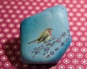 Bird (Original oil painting on a stone). Free shipping