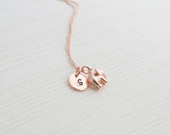 Rose Gold Initial and Elephant Necklace, Disc Necklace, Hand Stamped on Disc, Personalised Jewellery, Rose Gold Plated Necklace, gift idea