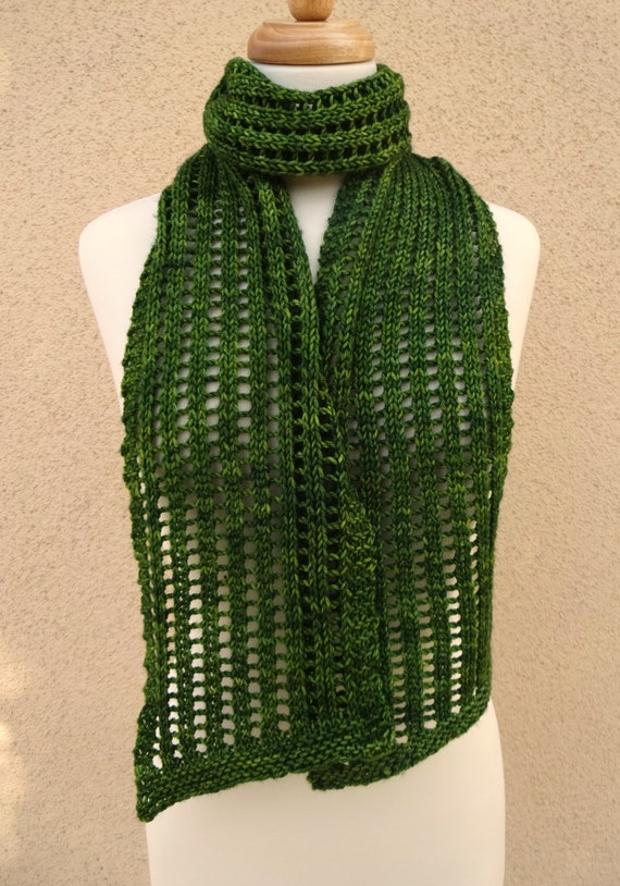 Knit Scarf Lace Bias Openwork Jade Green by BaySeaKnits on Etsy