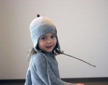 Alpaca wool ear flap hat, knit natural white, light grey, unisex winter bonnet, knitted kids helmet, baby, girls, boys, infant,toddler