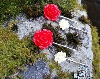 Red Rose Hair Pin Set, Flower Hair Accessories, Flower Hair Pins,  Floral Bobby Pins, Rose Bobby Pins, Rose Hair Accessories, Silver Pins