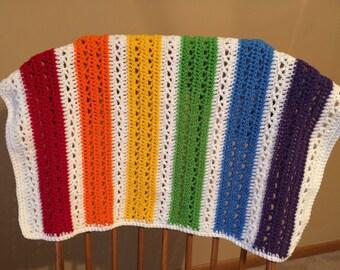 Rainbow Baby Blanket, Baby Blanket Crochet, Gender Neutral Baby Gift, Rainbows, Ready to Ship
