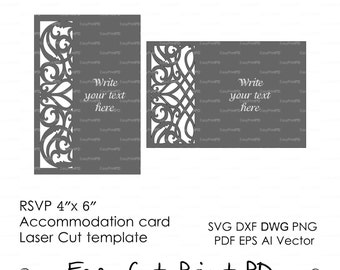 "RSVP, Accommodation card 4""x 6"" Template Swirls stencil Scroll door gate folds (svg dxf ai eps) laser cut Instant Download Silhouette Cameo"