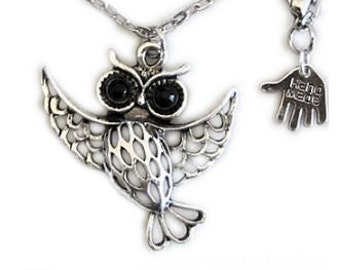 waving owl, owl necklace,flying owl, dancing owl, silver owl, silver owl necklace, black rhinestone, long necklace, long silver necklace, uk