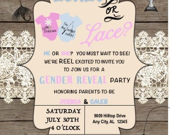 lure or lace -gender reveal invitation (front & back)