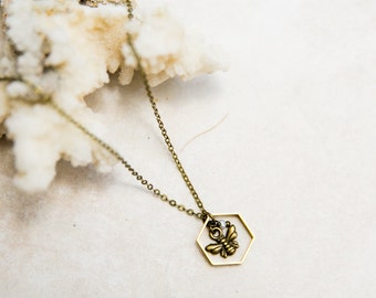 Bee Necklace, Hexagon honeycomb, gold bumble bee jewelry, Minimalist Necklace, Save the bees, mom jewelry, brass bee necklace, bee lover