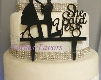 She Said Yes Proposal-  Groom Proposes to His Bride Cake Topper Wedding Engagement Many Colors