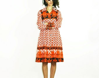 60s MOD Dress, orange white dress, flowers print dress, vintage retro dress, 60s clothing, hippie gypsy, midi long sleeve, mad man, size S
