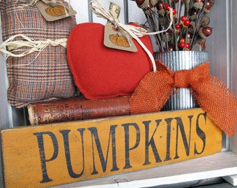 Pumpkins - Hand Painted Wood Sign - Rustic Wood Sign - Autumn and Fall Decor