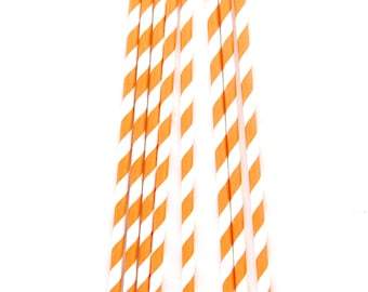 CLOSEOUT SALE Orange Diagonal Stripe Straws 15 Count