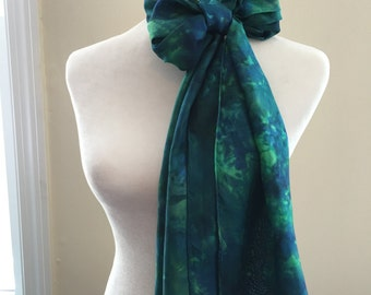 "Hand dyed silk scarf Turquoise Green Blue Large 14"" x 72"" Habotai silk One of a kind Wearable Art Gift for Her Birthday Wedding Anniversary"