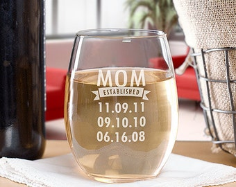 Engraved Personalized Stemless Wine Glass, Engraved Established Wine Glass
