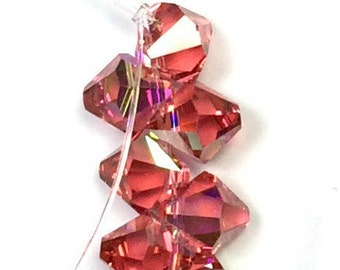Swarovski Crystal Faceted  Topdrilled Bicone Beads 8mm -Padparadscha AB Article 6301