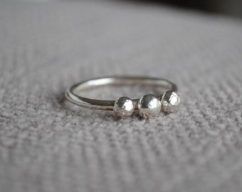 Pebble Ring, Three Pebble Ring, Three Stone Ring, Sterling Silver, Trilogy Ring, Stacking Ring