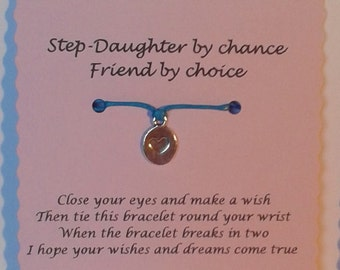 Step-Daughter gift, Step-Daughter Bracelet, String Wish Bracelet, Charm bracelet, Cord Wish Bracelet, Keepsake Card, Step-Daughter card