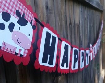 Farm Animal Happy Birthday Banner | Farm Animals Party Banner | Farm Animals Party Decor | Happy Birthday Banner | Barnyard Banner