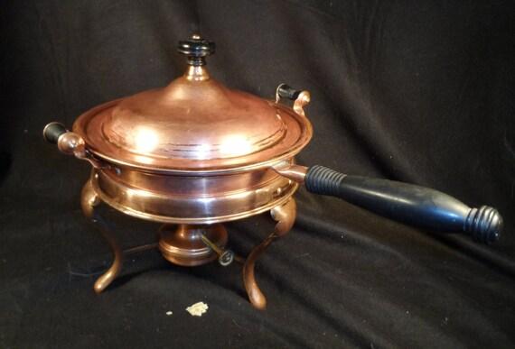 Antique Chafing Dish-Brass, Copper, Aluminium G T Shutterley & Co Philadelphia-5 piece chafing dish set