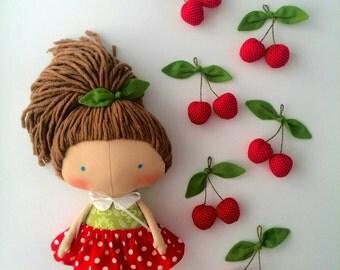 Cherry Tilda doll Gift girls Daughter gift Rag doll Gift Summer gifts Doll for girls Red dress Handmade doll Girl toys Fabric doll Lovely