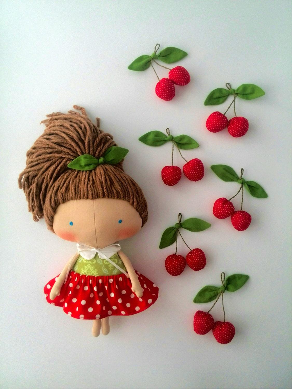 Save fruit doll - Cherry Tilda Doll Gift Girls Daughter Gift Rag Doll Gift Summer Gifts Doll For Girls Red Dress Handmade Doll Girl Toys Fabric Doll Lovely