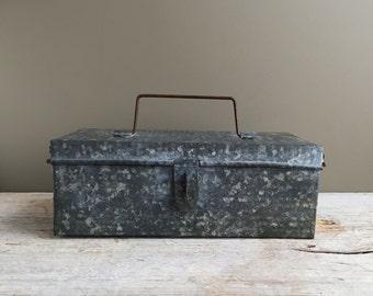 Industrial Galvanized Steel Box, Rustic Storage Box