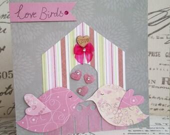 Love Birds Valentines Day Card Handmade