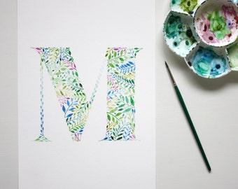 Watercolour Initial Print, Botanical Wall Art, Hand Painted Nursery Print, Letter M Artwork, M Painting