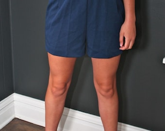 Vintage Paddle Saddle High Waist Shorts Navy Blue NWT Young Country S or M