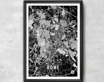 ROME Italy Map with Coordinates, Rome Wall Art, Rome Map, Map Art, Map Print, Rome Print, Rome Art, Rome Gift, Map, Wall Art, Italy Map, Art