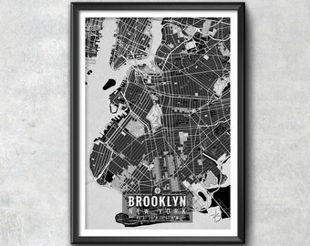 BROOKLYN New York Map with Coordinates, Brooklyn Wall Art, Brooklyn Map, Map Art, Map Print, Brooklyn Print, Brooklyn Art, Brooklyn Gift