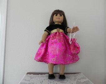 American Girl Party Dress, velvet with brocade and handbag
